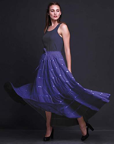Langer Phagun aus Rock Frauen Lavande Kleidung Sommer Baumwolle Circle Full Bleu 9 Rock Maxi Panel qIIUaw4A