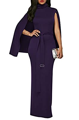 LaSuivuer LaSuiveur Women's Elegant Party Bodycon Turtle Neck Evening Poncho Long Dress