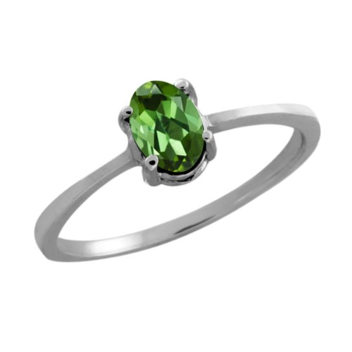 0.40 Ct Oval Green Tourmaline 18K White Gold Ring