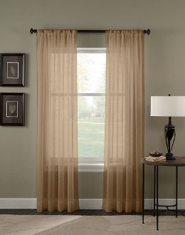 2 Piece Solid Taupe Sheer Curtains Panels Window Treatment Drape 55quot
