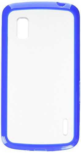 (MyBat Transparent Clear/Dark Blue Gummy Cover for LG E960 (Nexus 4) - Retail Packaging - Blue/Clear)