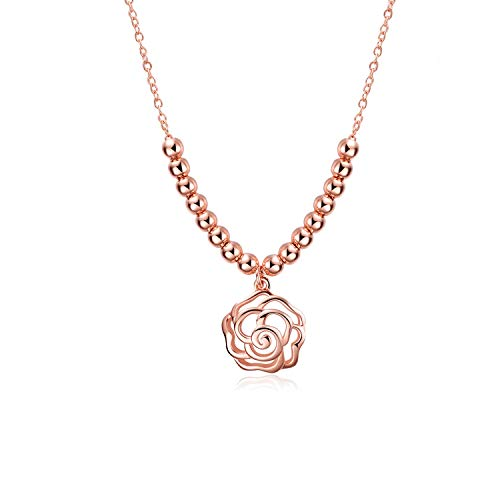 LUHE Rose Necklace Rose Gold Sterling Silver 3D Filigree Rose Flower Bead Pendant NNecklace Jewelry (Rose Gold Rose Necklace)