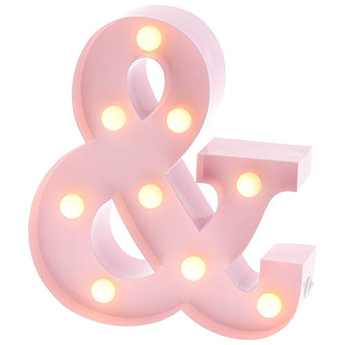Barnyard Designs Metal Marquee Letter R Light Up Wall Initial Nursery Letter, Home and Event Decoration 9' (Baby Pink)