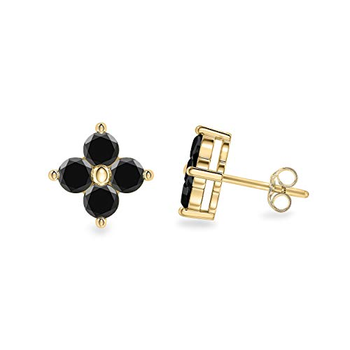- 0.30 Carat Round Cut Black Natural Diamond Clover Stud Earrings in 14K Yellow Gold