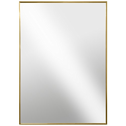 Raphael Rozen - Modern Hanging Framed Wall Mounted Metal Mirror, Gold Glossed Aluminum