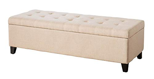 (Best Selling Mission Tufted Fabric Storage Ottoman Bench, Beige)
