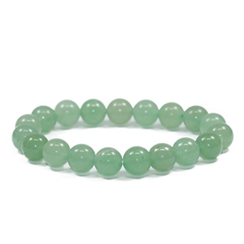 Lovelybead Gemstone Bracelets Natural Genuine Gemstones Birthstone Handmade Healing Power Crystal Beads Elastic Stretch 8mm 7.5 Inch Unisex (Light Green (Green Jade Gems)