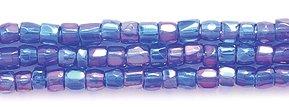 Preciosa Ornela Czech 3-Cut Style Seed Glass Bead, Size 9/0, Aurora Borealis Transparent Cobalt