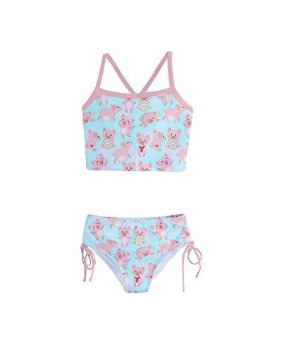 10 Piece Pig (PattyCandy Little Girls Bathing Suit Adorable Pig Prints Tankini Swimsuit - 10)