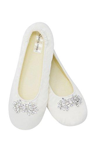 Women's Bridal Satin Slippers (Small) Ivory - Ivory Wedding Slippers