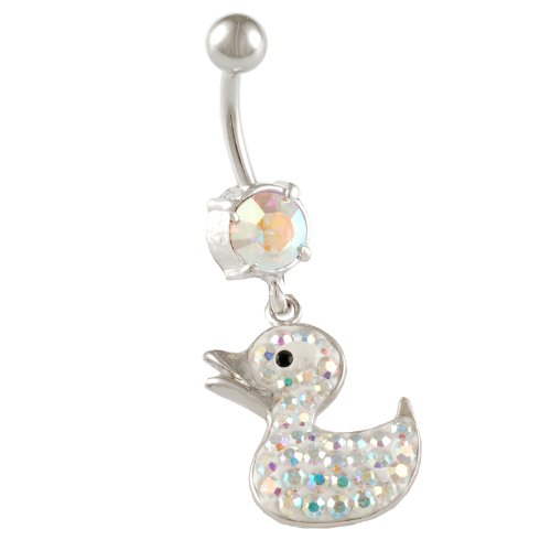 bodyjewellery belly button rings dangling navel bars 14 Gauge 1.6mm 3/8 10mm cute little Duck Crystal dangle banana ABDE Duck AB Light ()
