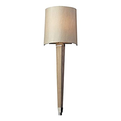 Alumbrada Collection Jorgenson 1 Light Wall Sconce In Polished Nickel And Taupe Wood - Tapered Angle Mahogany Finish