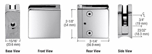 C.R. LAURENCE Z706PS CRL Polished Stainless Z-Series Square Type Radius Base Stainless Steel Clamp f -