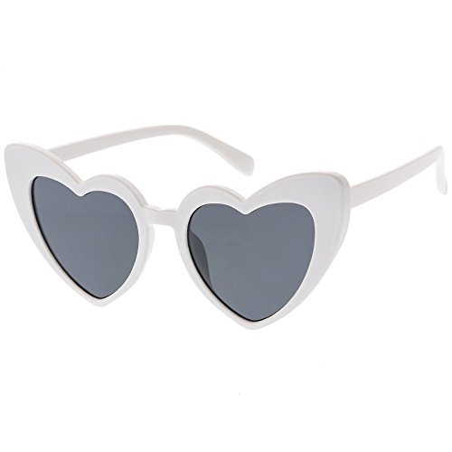 sunglassLA - Oversize Extreme Heart Sunglasses With Color Tinted Lens 51mm (White / - Waves Sunglasses