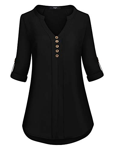Marbetia Blouse Shirts for Women, Ladies V Neck Tops 3/4 Roll up Sleeve High Low Hem Casual Chiffon Flattering Tunic Black X-Large