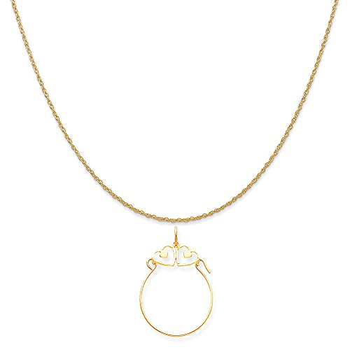 Mireval 10k Yellow Gold Double Heart Charm Holder on a 14K Yellow Gold Rope Chain Necklace, 20