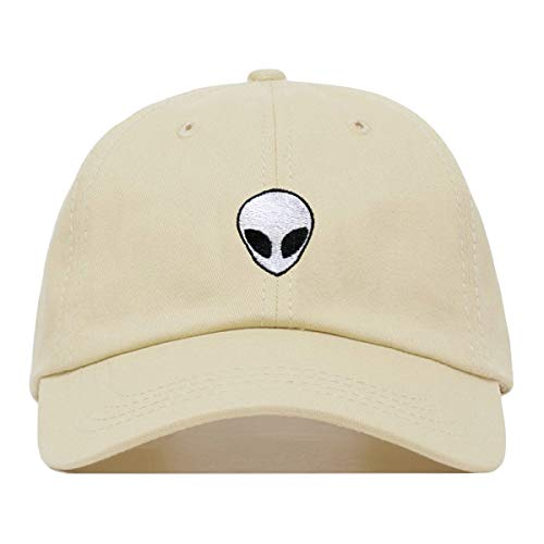 - Alien Dad Hat, Embroidered Baseball Cap, 100% Cotton, Unstructured Low Profile, Adjustable Strap Back, 6 Panel, One Size Fits Most (Multiple Colors) (Beige)