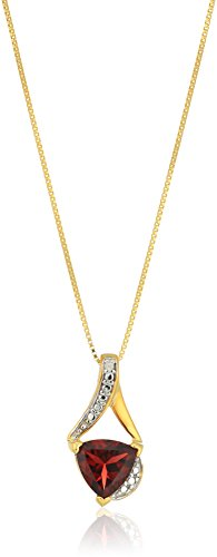 Sterling Silver Trillion-Cut Garnet and Diamond Accent Pendant Necklace, 18