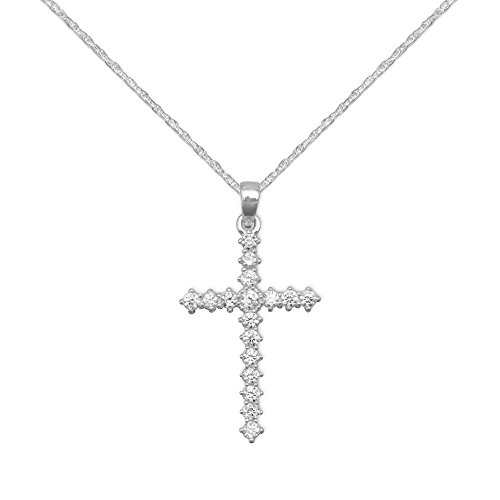 Cross Pendant with 17 Cubic Zirconia Stones Sterling Silver, Rope Chain Included