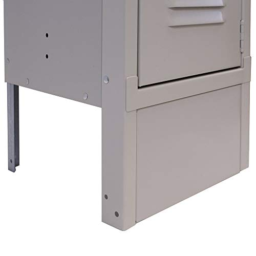 "Lyon DD5800-1 Closed Front Locker Base, 15"" Width x 6"" Height, Dove Gray"