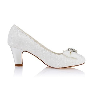 Lace Basic Heel Spring Stretch Shoes Toe Evening Pump Crystal Best Women's for ivory Shoes Wedding Round Party 4U Ivory Fall Wedding Satin Chunky 8OFwCWqxtS