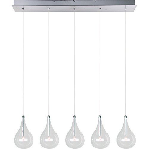 ET2 E23115-18 Larmes 5-Light Linear Pendant, Polished Chrome Finish, Clear Glass, 12V G4 Xenon Bulb, 50W Max., Dry Safety Rated, Shade Material, 2250 Rated Lumens