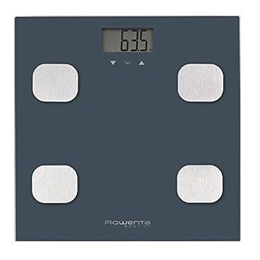 Rowenta-Body-up-BR2520-Bascula-de-bano-con-medidor-de-grasa-corporal-e-IMC-hasta-8-perfiles-de-usuario-con-una-gran-pantalla-LCD-plataforma-de-vidrio-hasta-150-kg-de-capacidad-color-Azul-marino