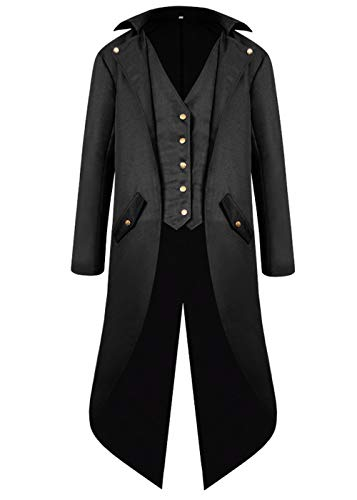 BITSEACOCO Mens Gothic Medieval Tailcoat Jacket, Steampunk Vintage Victorian Frock High Collar Coat, Halloween Costumes (L, Black) by BITSEACOCO (Image #2)