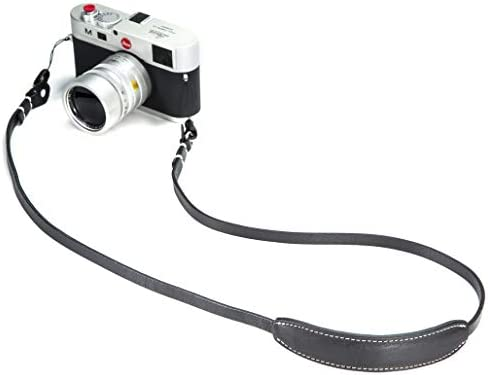CANPIS Genuine Leather Camera Shoulder Neck Strap Retro Minimalist Adjustable for Fuji Olympus Panasonic Lecia Canon Nikon etc DSLR or SLR Camera Black