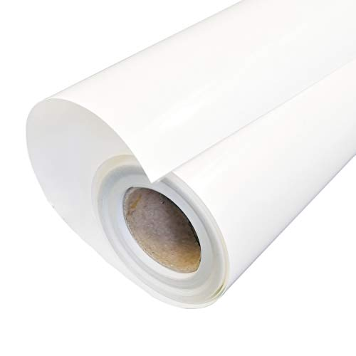 HTV 12x12FT White PU Heat Transfer Vinyl Roll for for T Shirts Garments Bags and Other Fabrics by Plotter Cutter