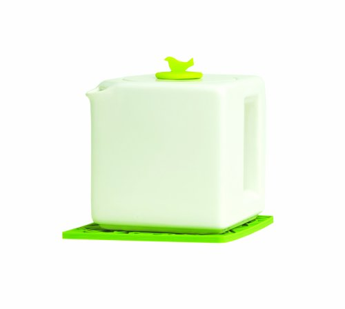 Make My Day Tea Cube Ceramic Teapot with Infuser, White with Lime Green Accent