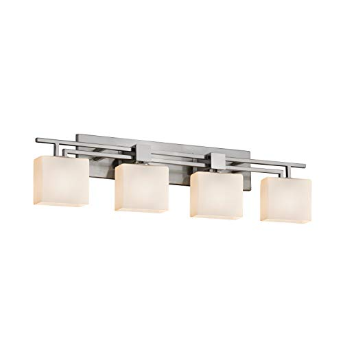 Justice Design Group Lighting FSN-8704-55-OPAL-NCKL Justice Design Group - Fusion - Aero 4-Light Bath bar - Rectangle - Brushed Nickel Finish with Opal Shade,