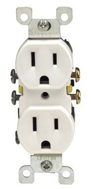 Leviton S02-05320-0WS White Residential Grade Straight Blade Duplex Receptacle by Leviton