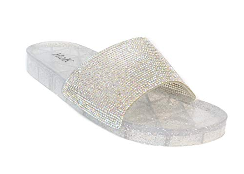 H2K Women's Crystal with Rhinestone Bling Glitter Open Toe Slide Sandal Flat Jelly Shoes Sunny (7 B(M) US, Silver II)