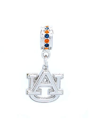 Auburn Tigers Crystal Necklace - Violet Victoria & Fan Star Deluxe Crystal Necklace Pendant OR Bracelet Charm - FITS Most Rope Bracelets - Auburn Tigers