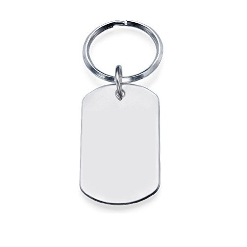- Ouslier 925 Sterling Silver Personalized Dog Tag Keychain Custom Made with 5 Lines Texts (Silver)