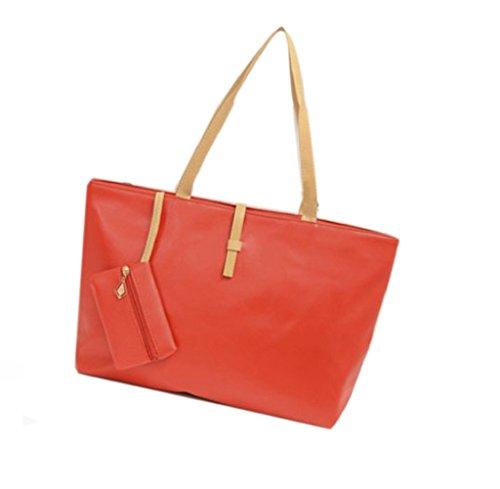 Tongshi bolsa de Nueva bolso de la señora hombro del monedero del totalizador del Hobo mensajero de las mujeres del bolso de Crossbody (rojo)