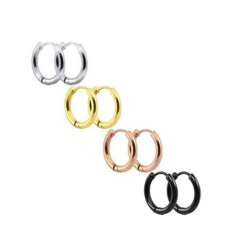 - 3-4 Pairs Stainless Steel Earrings Small Huggie Hoop Earrings for Women Men-4C10mm