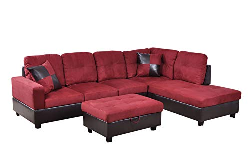 Home Garden Collections 3 Piece Microfiber/Faux Leather Contemporary Right-Facing Sectional Sofa Set with Ottoman, 2 Accent Pillows, Carmine Red Product SKU: HF3019LS3 ()