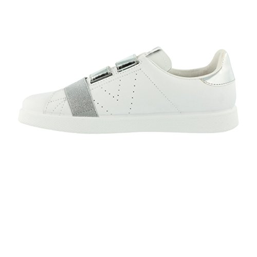 Schuhe Deportivo Velcros Leather Plata Blanc
