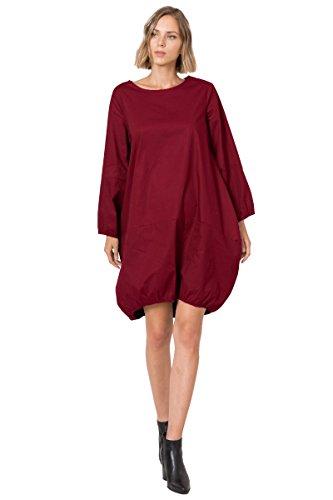 ID10482 Round Neck Cotton Poplin Bubble Dress With Pocket Burgundy (Pretty Bubble Dress)