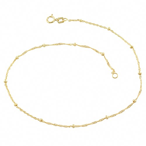 - 10k Yellow Gold Singapore Saturn Anklet (1.87mm, 10 inch)