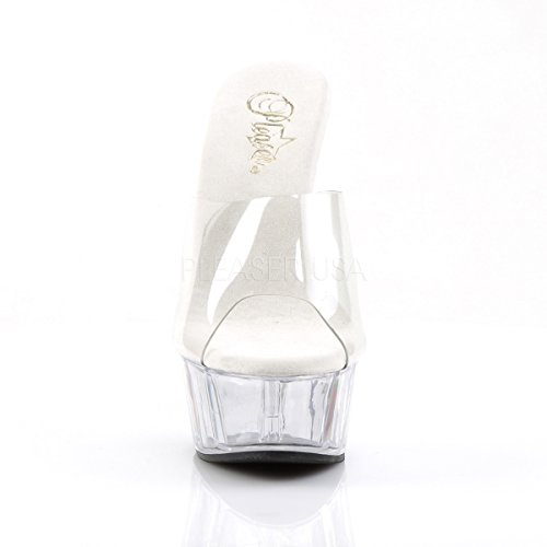 Clear 601 Womens Clear Delight PleaserUSA Peep Toe Slide Platform 8Yapwq