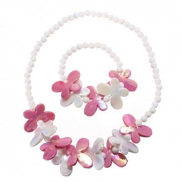 - Obsidian Kid Baby Girl Beads Flower Butterfly Jewelry Set Necklace Bracelet