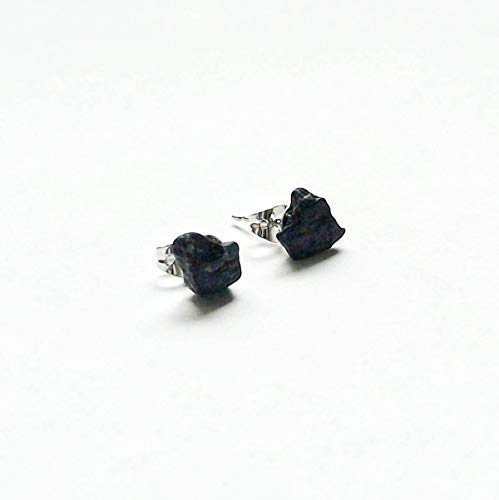- Natural Black Tourmaline Sterling Silver Earrings - Men's Healing Crystal Studs