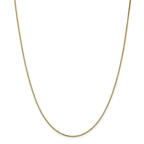 Solid 14k Yellow Gold 1.1mm Box Chain Necklace 30