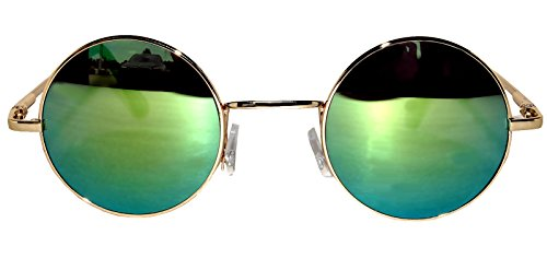 Round Yellow Mirrored Lens Sunglasses Gold Metal - Hipster Round Sunglasses