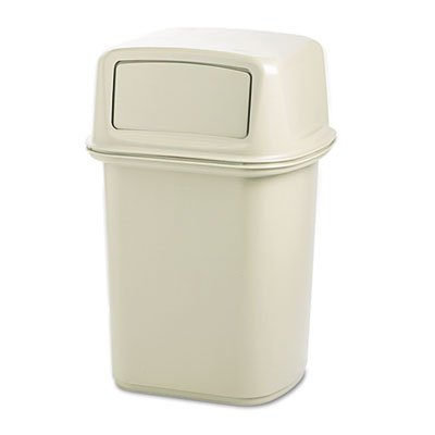 (Rubbermaid Commercial 917188BG Ranger Fire-Safe Container, Square, Structural Foam, 45gal, Beige)