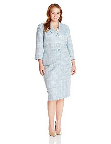 Le Suit Women's Plus Size Crossdye 3 Button Skirt Suit, Bali Multi, 18W by Le Suit