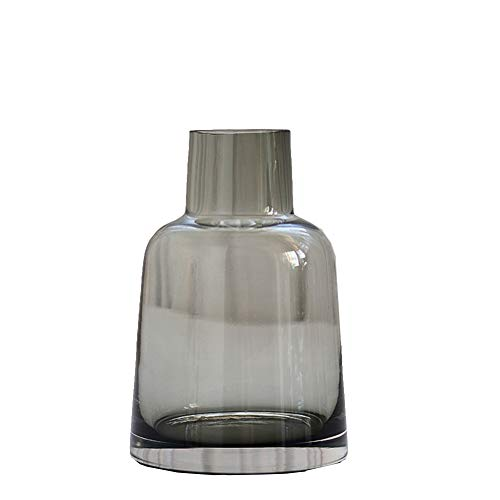 TELLW Nordic Simple Small Mouth Glass vase hydroponic Dried Flowers Flower Arrangement Flower in Grey Incense Smoked Bottle Home Soft Decoration